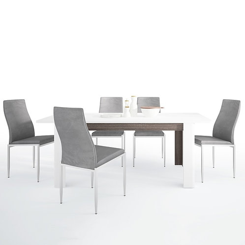 Chelsea Living Extending Dining Table + 6 Milan High Back Chair Gray