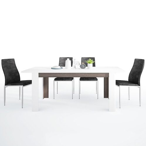 Chelsea Living Extending Dining Table + 4 Milan High Back Chair Black