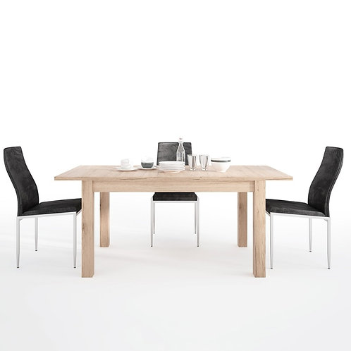Kensington Extending Dining Table + 4 Milan High Back Chair Black