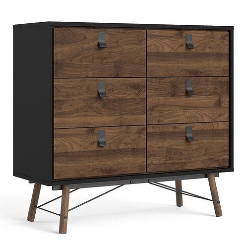 Ry Double chest of drawers 6 drawers in Matt Black Walnut