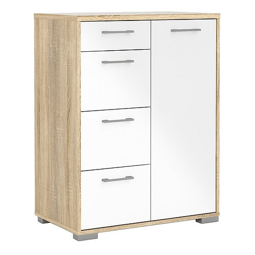 Homeline Sideboard 4 Drawers 1 Door in Oak with White High Gloss