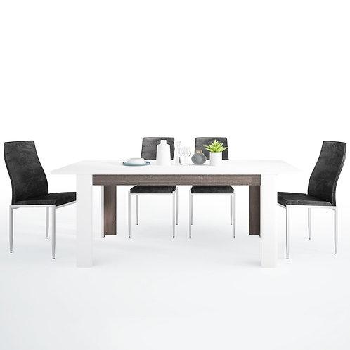 Chelsea Living Extending Dining Table + 6 Milan High Back Chair Black