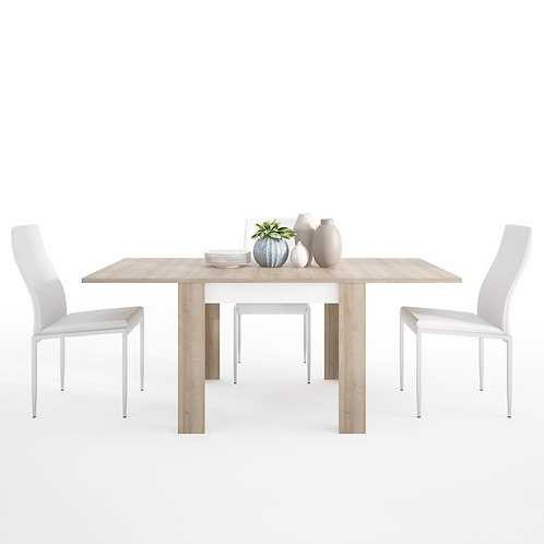 Lyon Small extending dining table 90/180cm + 6 Milan High Back Chair White.