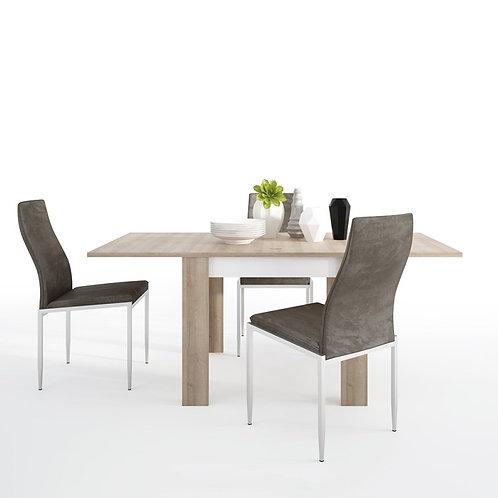 Lyon Small extending dining table 90/180cm + 4 Milan High Back Chair Dark Brown.