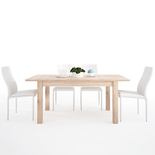 Kensington Extending Dining Table + 4 Milan High Back Chair White