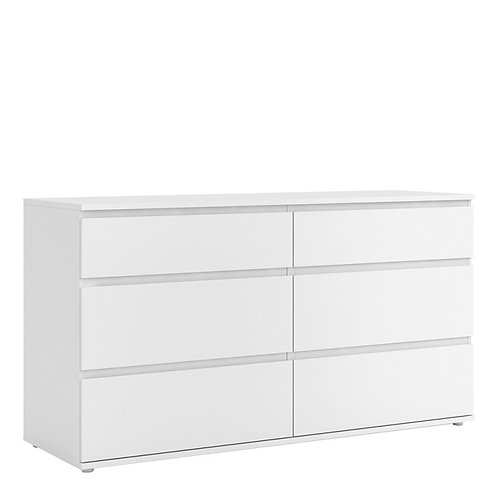 Nova Wide Chest of 6 Drawers (3+3) in White