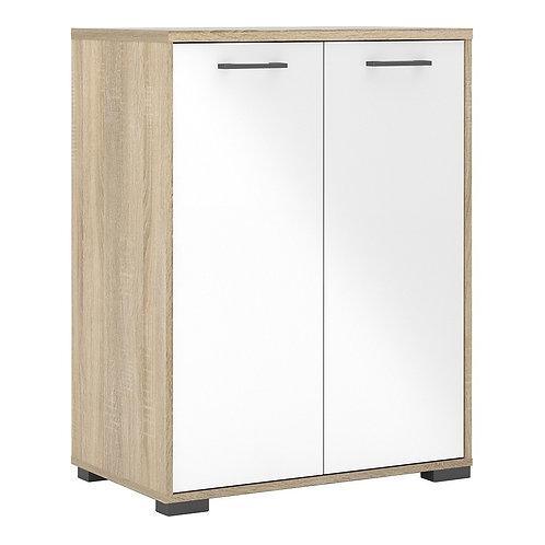Homeline Sideboard 2 Doors in Oak with White High Gloss