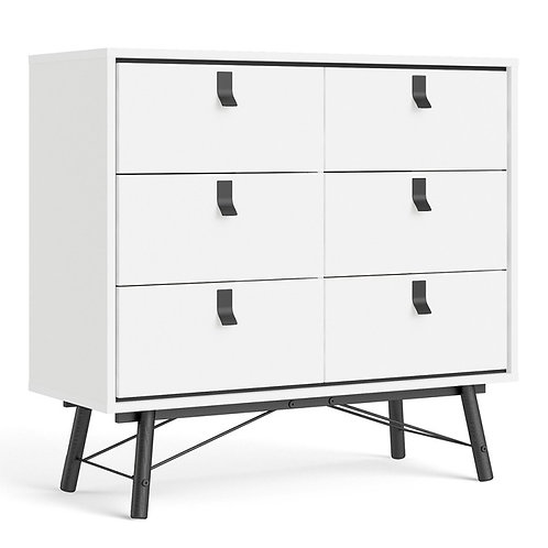 Ry Double chest of drawers 6 drawers in Matt White