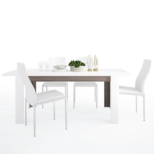 Chelsea Living Extending Dining Table + 6 Milan High Back Chair White.