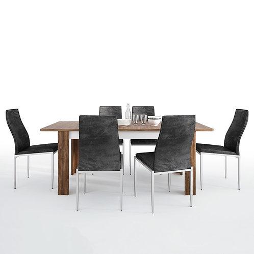 Toledo extending dining table + 6 Milan High Back Chair Black.