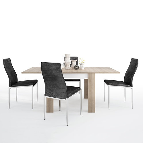 Lyon Small extending dining table 90/180cm + 6 Milan High Back Chair Black.