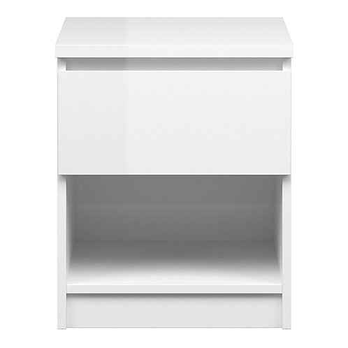 Naia Bedside - 1 Drawer 1 Shelf in White High Gloss