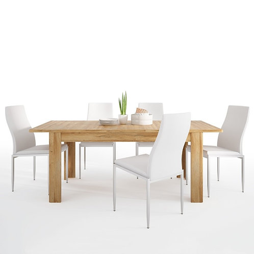 Cortina Extending dining table in Grandson Oak + 6 Milan High Back Chair White.