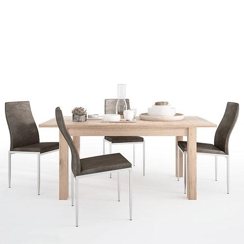 Kensington Extending Dining Table + 4 Milan High Back Chair Dark Brown