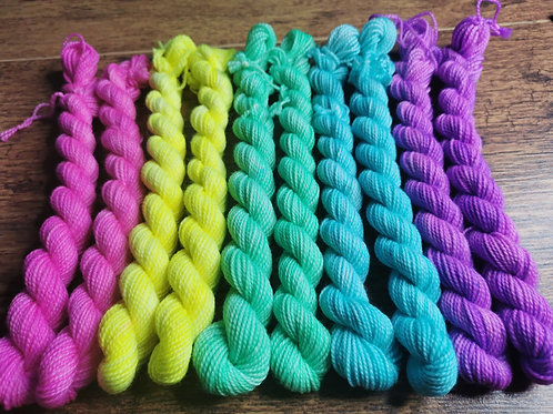 Neon Matching Sock Micro Skeins