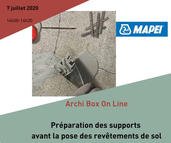 Archi Box On Line : Préparation des supports avant la pose des revêtements de sol par Mapei BeLux