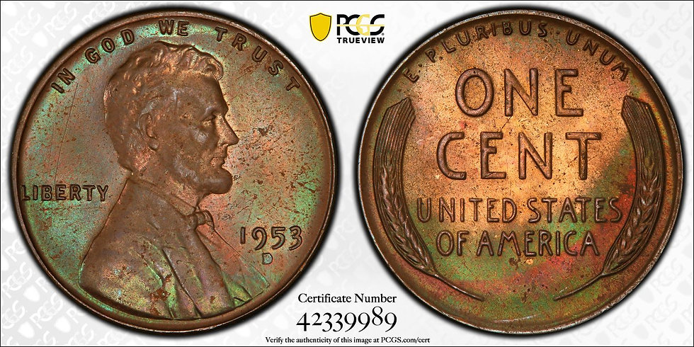 1953-D Lincoln PCGS MS65BN