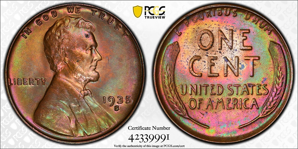 1935-S Lincoln PCGS MS64RB