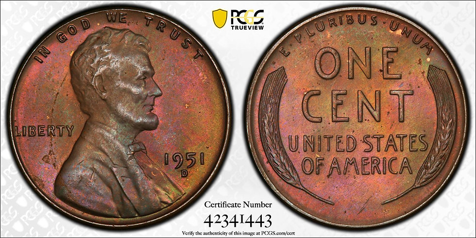 1951-D Lincoln PCGS MS65BN