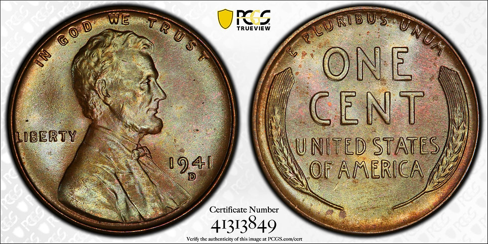 1941-D Lincoln PCGS MS66BN