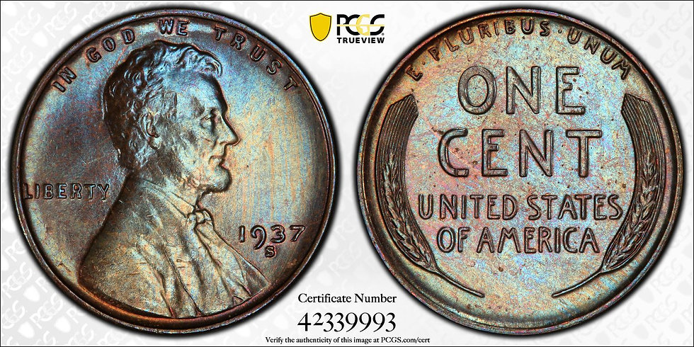 1937-S Lincoln PCGS MS65BN