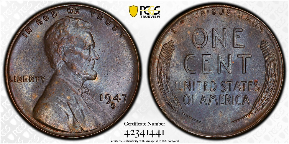 1947-S Lincoln PCGS MS65BN