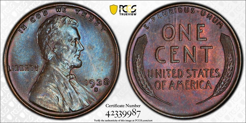 1938-S Lincoln PCGS MS65BN