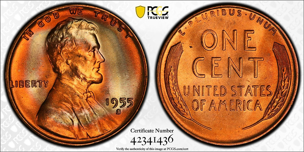 1955-S Lincoln PCGS MS66+RD