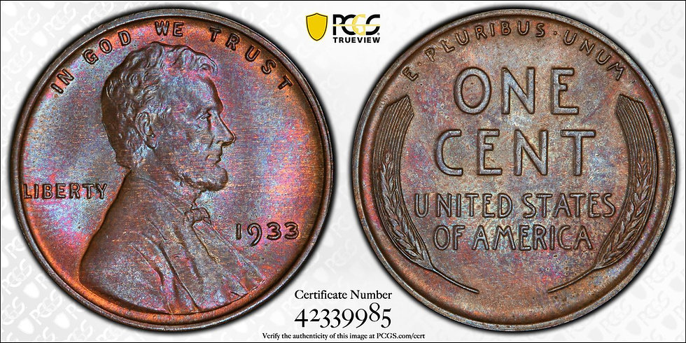 1933 Lincoln PCGS MS65BN