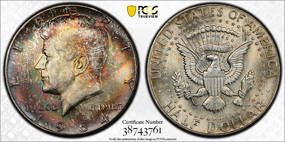 1964 Kennedy PCGS MS65 EOR Toned