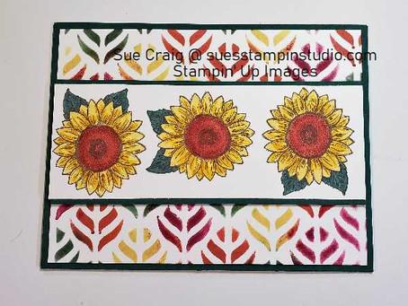Sunflowers, Stencil, Sponge Daubers and a Challenge