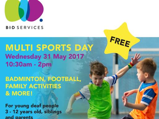 BID free Multi Sports event for deaf children aged 3 -12