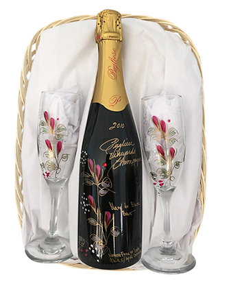Red Champagne Basket