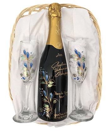 Blue Champagne Basket