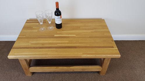 Solid oak top coffee table