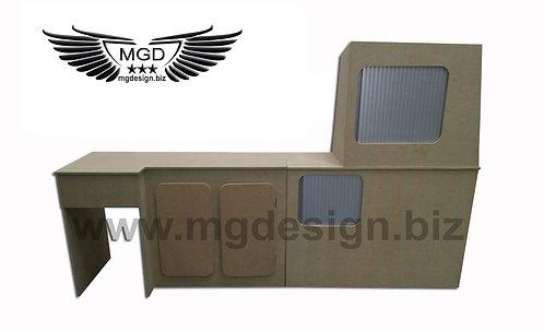 T5 front fridge two door and rear twin tambour door unit.