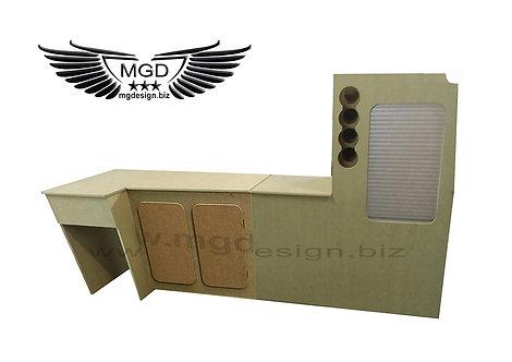 T4 front fridge two door and rear tambour door wine rack unit.