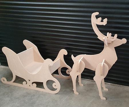 Large Reindeer & Sleigh