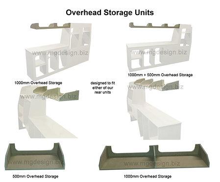 Overhead storage units.