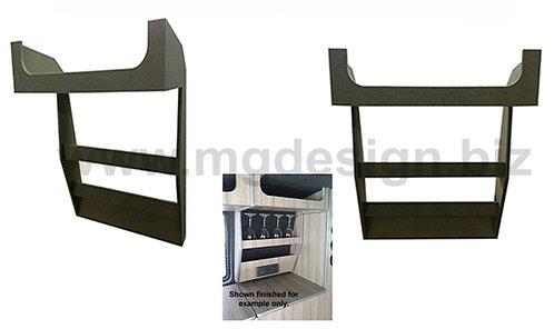 Glass rack with overhead storage.
