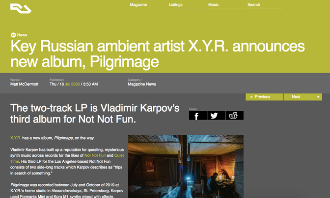 Resident Advisor premieres latest LP by soviet synth master X.Y.R.