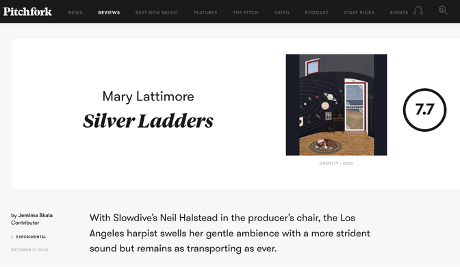 Mary Lattimore's latest reviewed by Pitchfork
