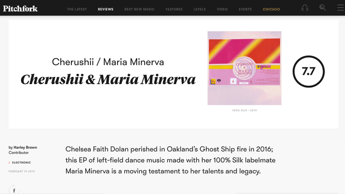 Cherushii & Maria Minerva receives a 7.7 from Pitchfork