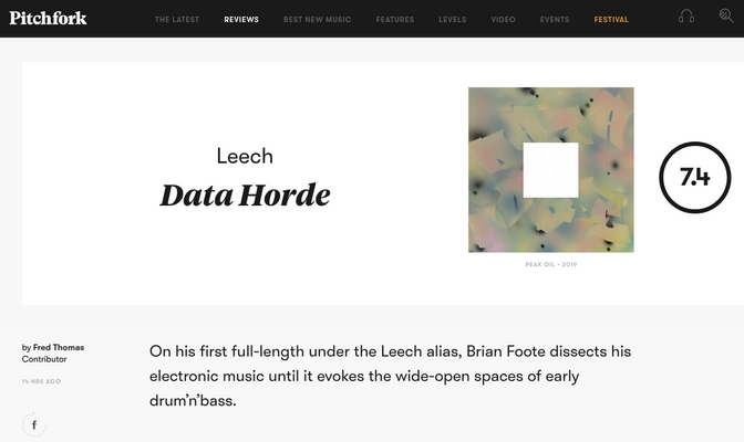 Leech lands a 7.4 on Pitchfork