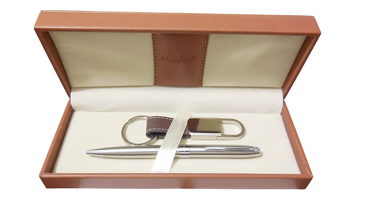 Keyring & Ballpoint Pen Set (Tan)