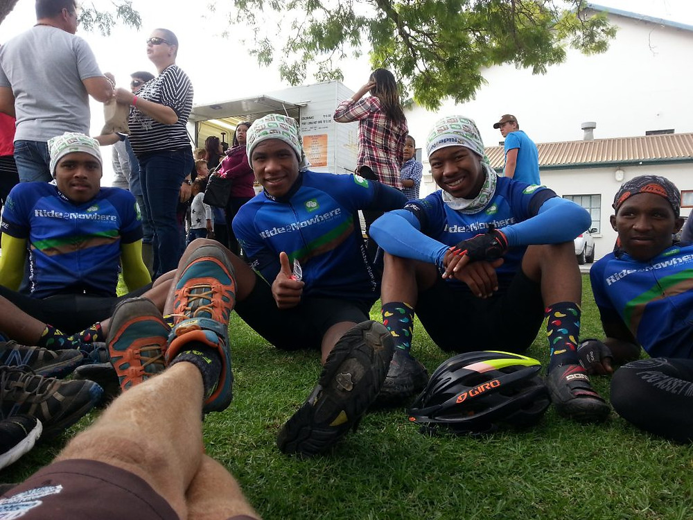 Guys chill after Ride2Nowhere in McGregor