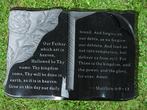 GB-08 Absolute Black Granite Hand Carved Bible