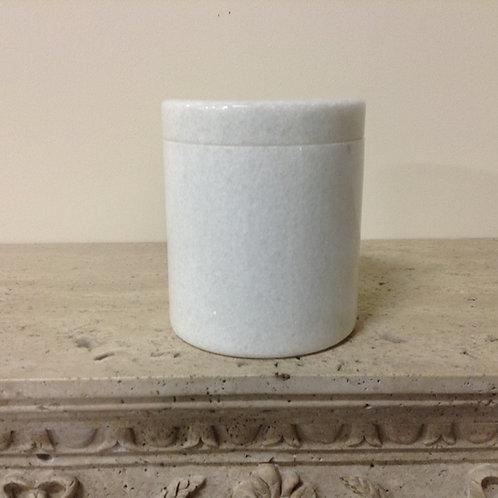 7.5x6.5 Granite Crystal White Cylinder Urn-G