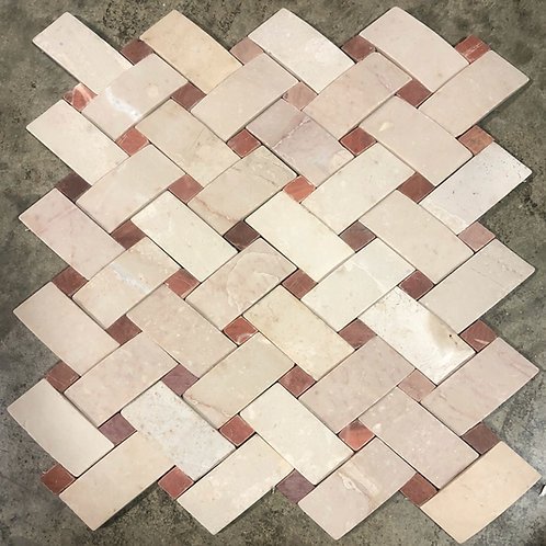 T-08 White Weave with Red Diamond Natural Stone Tile
