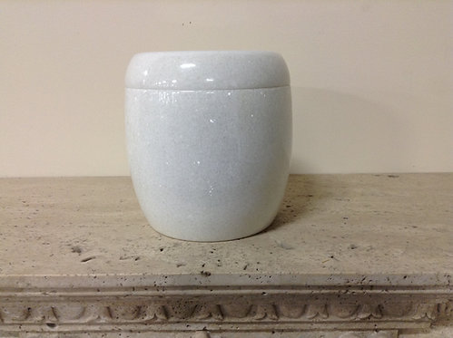 9x8 Granite Crystal White Cylinder Urn-A